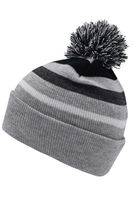 Striped Winter Beanie with Pom